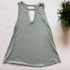 Ginger G Keyhole Tank Top Light Green Size Small